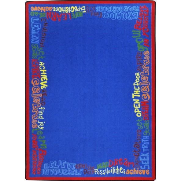 Rugs read believe achieve joy carpets for Green label carpet